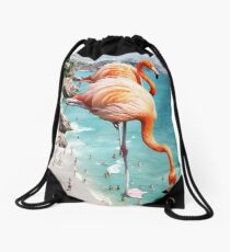 Flamingos on the Beach #redbubble #decor Drawstring Bag