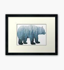 Misty Forest Bear - Turquoise Framed Print