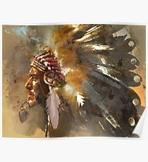 Indian Chief Native Americans Red Indian Feather Headress Poster