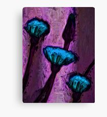 Turquoise Dandelion Flowers with Lavender Canvas Print
