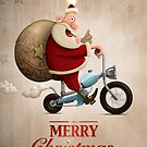 Santa Claus motorcycle delivery Greeting card by jordygraph
