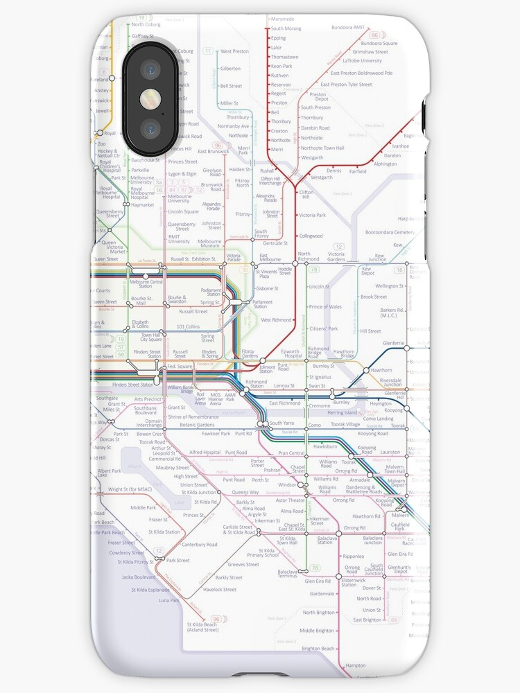 Melbourne train and tram map iPhone Cases Covers by Railmaps