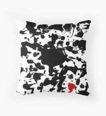 Crazy BLACK & RED INK SPLASHES Composition Throw Pillow