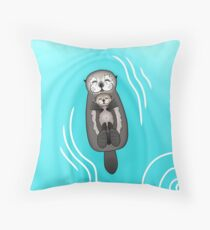 Mother and Pup Sea Otters - Mom Holding Baby Otter Throw Pillow