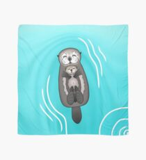 Mother and Pup Sea Otters - Mom Holding Baby Otter Scarf