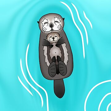 Mother and Pup Sea Otters - Mom Holding Baby Otter by prettyinink