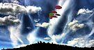 Umbrellas Over Hobart Hill by Wayne King