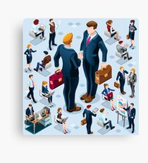 Isometric Business People Icon Isolated Set Vector Illustration Canvas Print