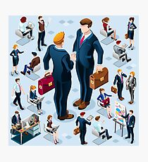 Isometric Business People Icon Isolated Set Vector Illustration Photographic Print