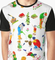 Isometric People Family Plant Tree Icon Set Vector Illustration Graphic T-Shirt