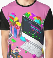 Video Retro Game Gaming Isometric People Vector Illustration Graphic T-Shirt