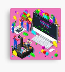 Video Retro Game Gaming Isometric People Vector Illustration Canvas Print