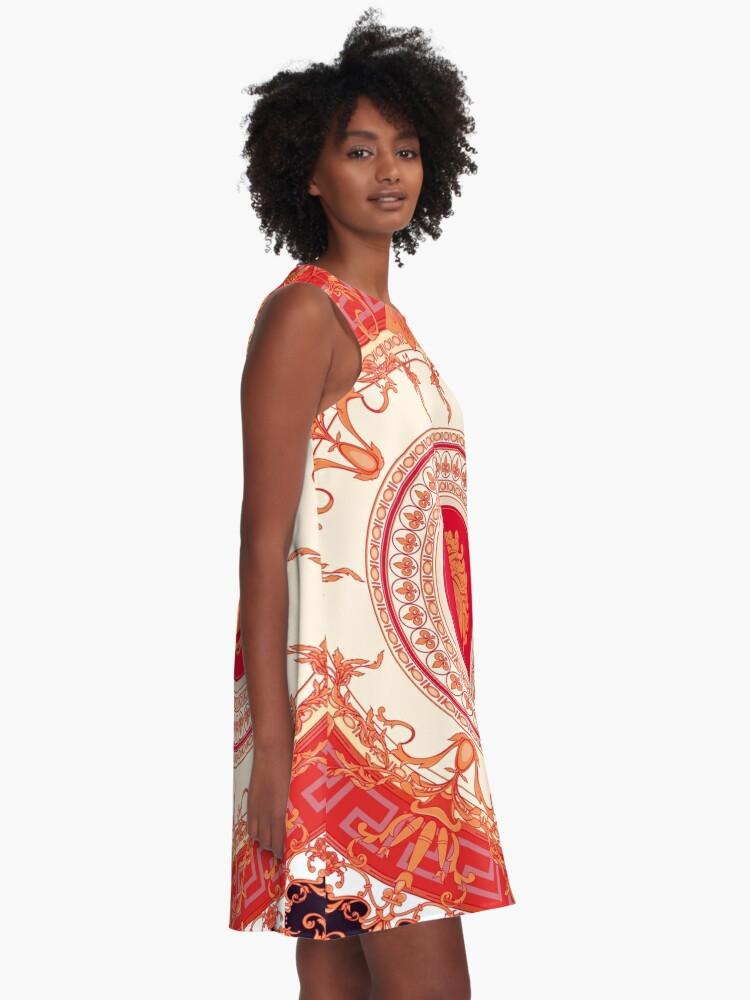 Alternative Ansicht von Versace inspiriert Design mit Medusa - Red A-Linien Kleid