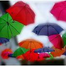 Umbrellas in the Mist by Wayne King