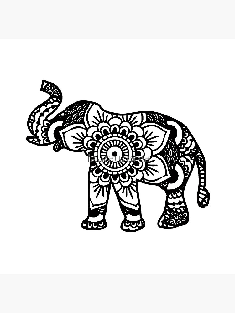 Mandala Elefant Schwarz von laurauroraa