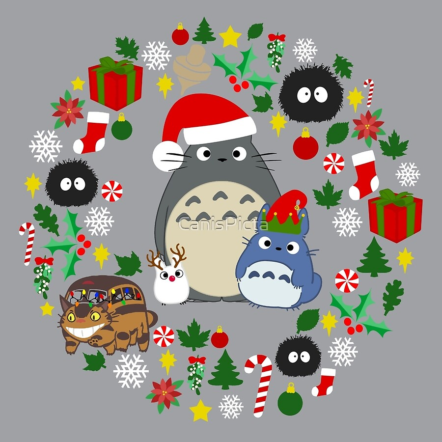 christmas totoro in lighter grey holiday xmas presents peppermint candy cane mistletoe snowflake poinsettia anime catbus soot sprite blue - Xmas Presents