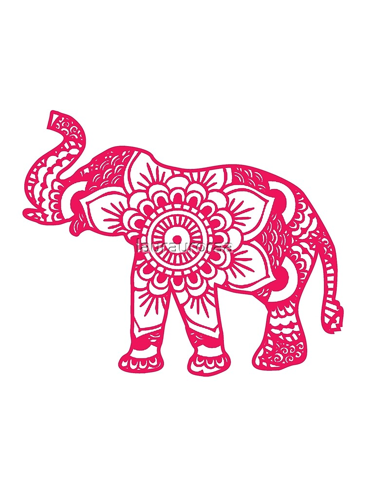 Mandala Elephant Pink by laurauroraa
