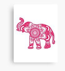 Mandala Elephant Pink Canvas Print