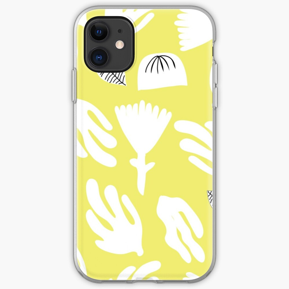Citron and white paper cutout garden iPhone Soft Case