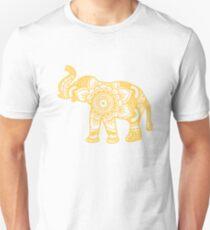 Mandala Elephant Yellow Unisex T-Shirt