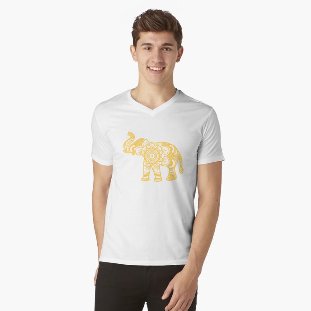 Mandala Elephant Yellow Camiseta de cuello en V