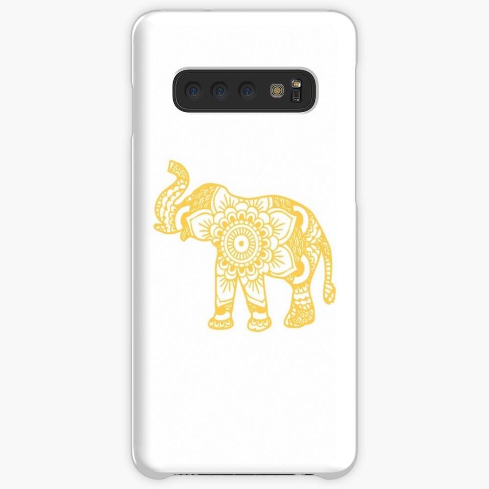 Mandala Elephant Yellow Funda y vinilo para Samsung Galaxy
