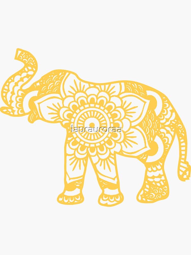Mandala Elephant Yellow de laurauroraa