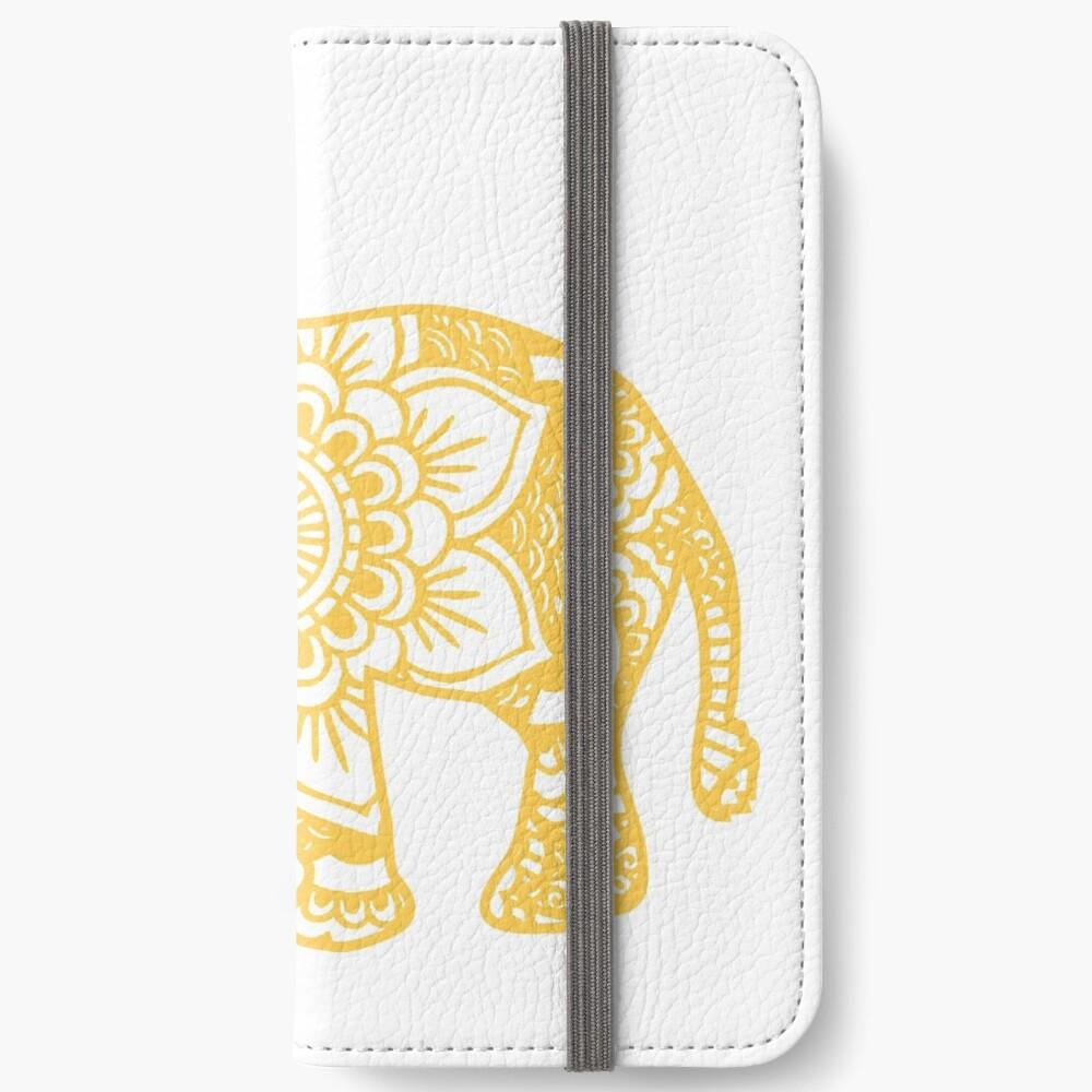 Mandala Elephant Yellow Fundas tarjetero para iPhone