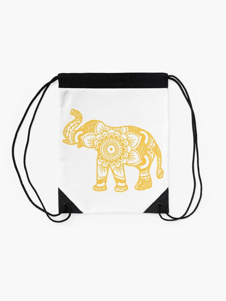 Vista alternativa de Mochila saco Mandala Elephant Yellow
