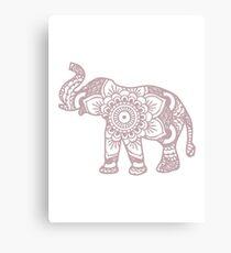 Mandala Elephant Lilac Canvas Print