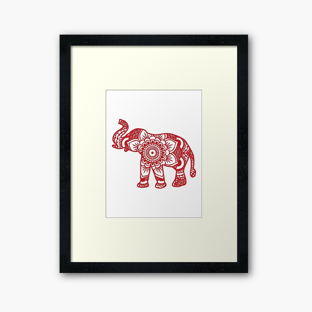 Mandala Elephant Red Framed Art Print