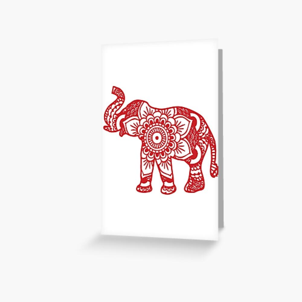 Mandala Elephant Red Greeting Card