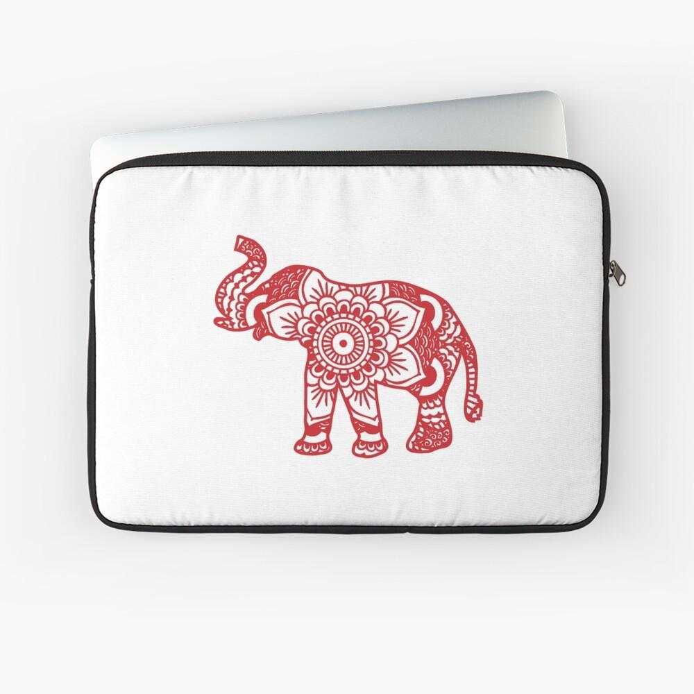 Mandala Elephant Red Laptop Sleeve