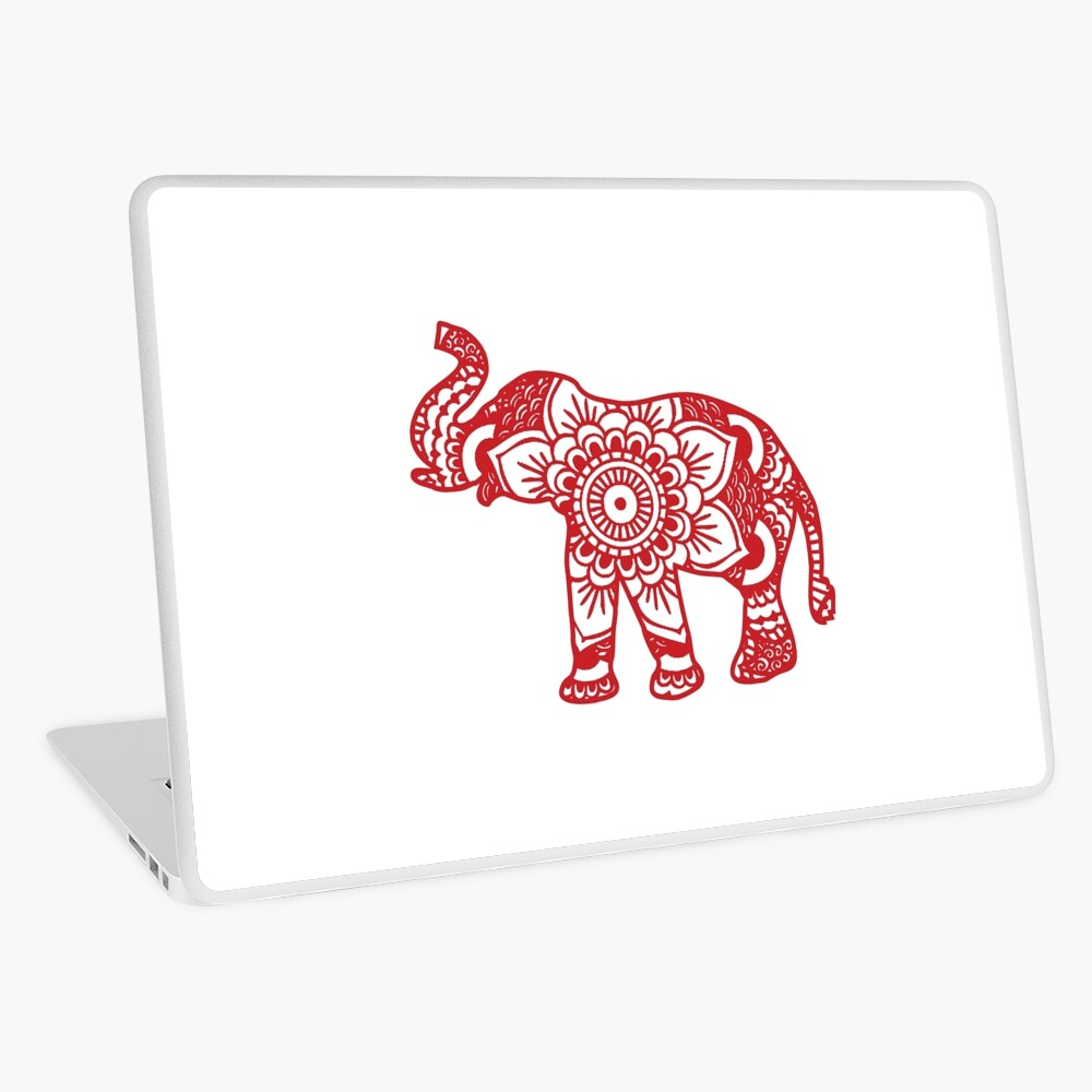Mandala Elephant Red Laptop Skin