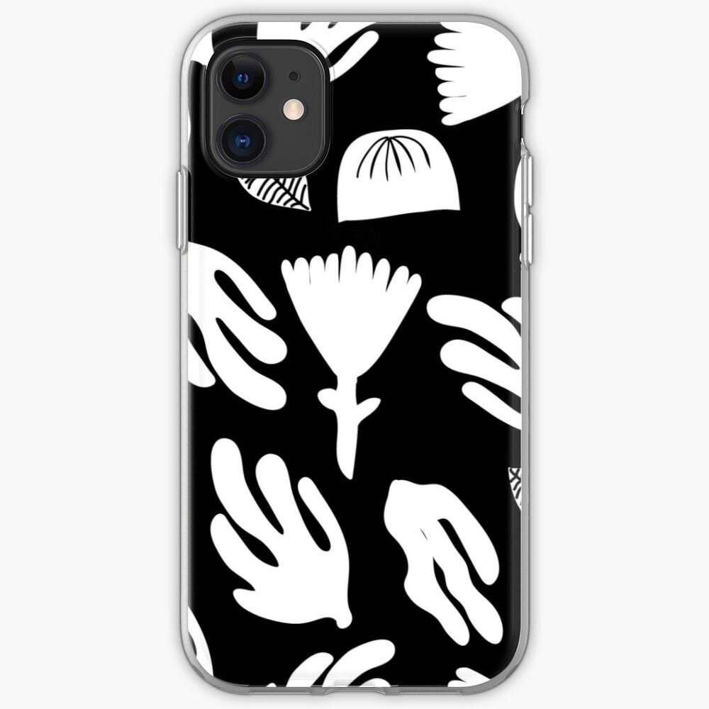 Monochrome paper cut garden iPhone Soft Case