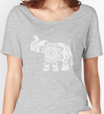 Mandala Elephant White Women's Relaxed Fit T-Shirt