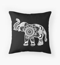 Mandala Elephant White Throw Pillow