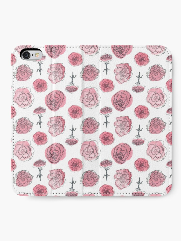 Alternate view of Pink Carnation Pattern iPhone Wallet