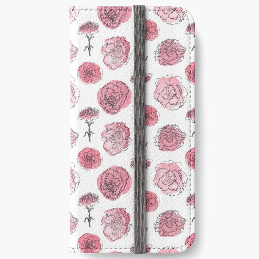 Pink Carnation Pattern iPhone Wallet