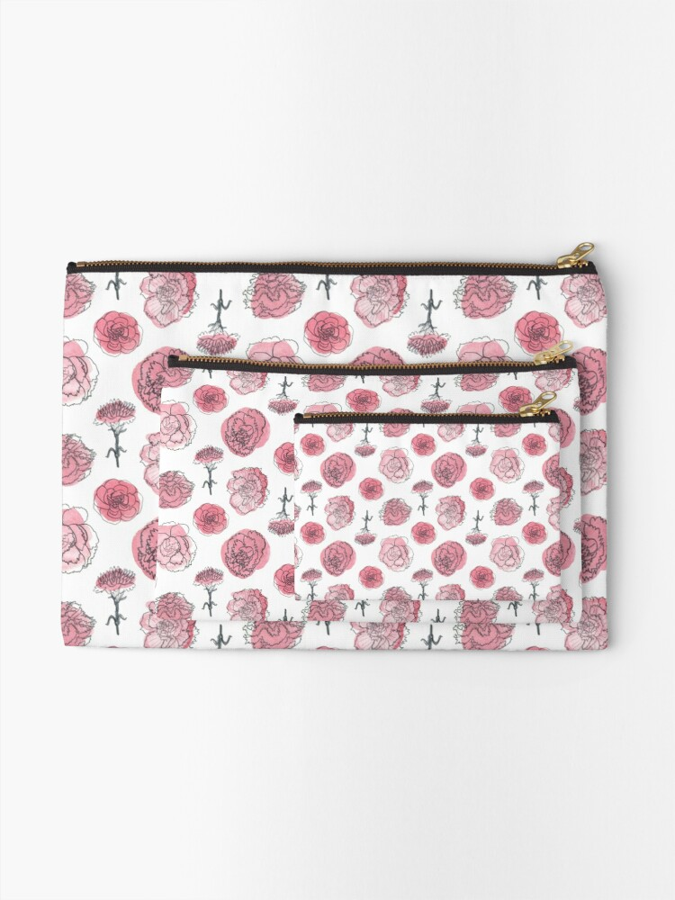 Alternate view of Pink Carnation Pattern Zipper Pouch