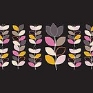 Leaf and flower - mustard and hot pink by Pip Pottage