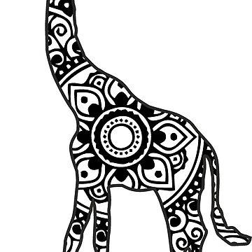 Mandala Giraffe (Black) by laurauroraa