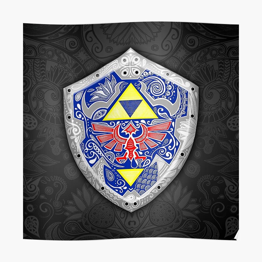 Zelda - Link Shield Doodle Póster