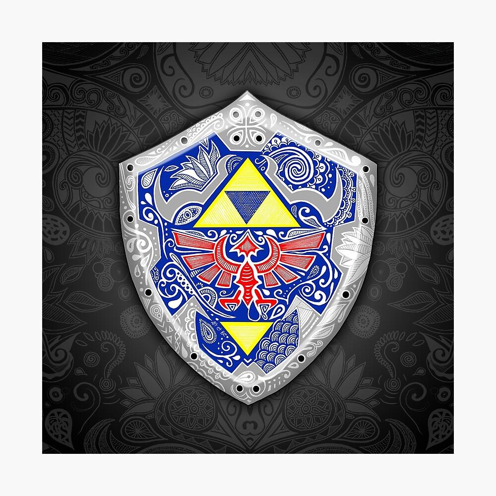 Zelda - Link Shield Doodle Lámina fotográfica