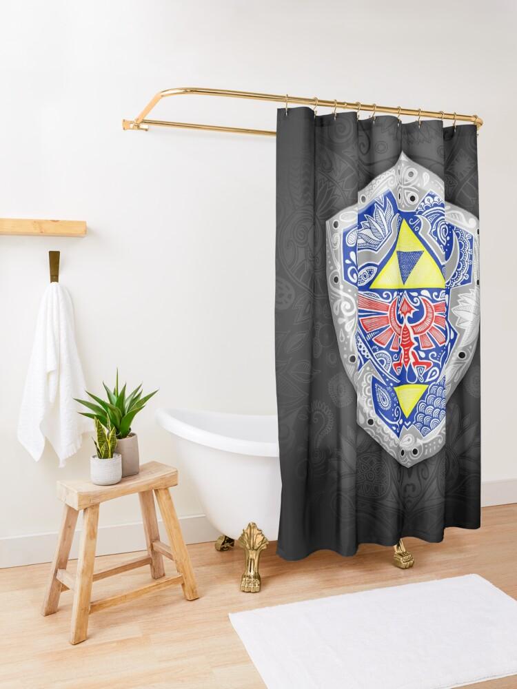 Vista alternativa de Cortina de ducha Zelda - Link Shield Doodle