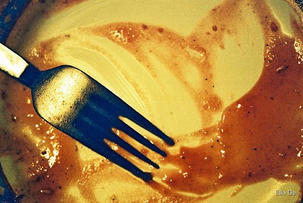fork on plate by Ella De