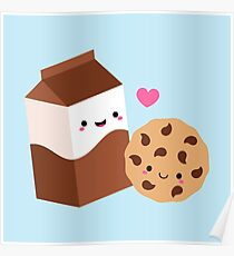 Kawaii Chocolate Milk Carton and Cookie Poster
