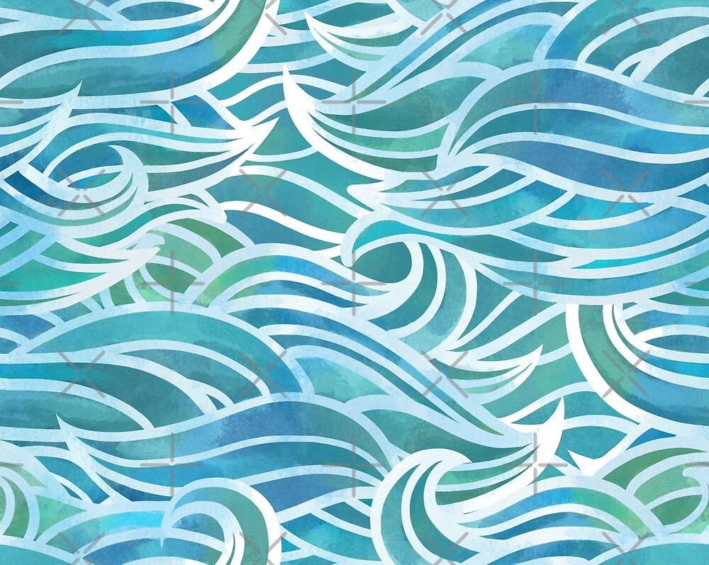 Watercolor waves by Elena Naylor
