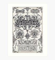 Vintage Hand Drawn Graphic Banners and Labels Art Print