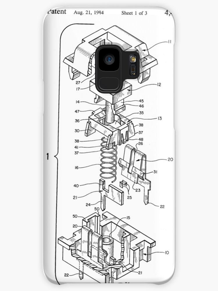 Cherry Mx Switch Patent Drawing Cases Skins For Samsung Galaxy By